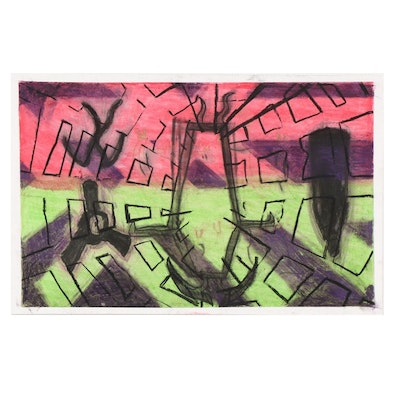 Brian Greiner Abstract Outsider Art Pastel Drawing, 21st Century