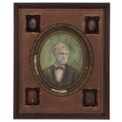 Crayon Portraits of Jas. L. Ridgely, W.W. Moore, and More, Late 19th Century