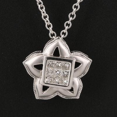 18K Diamond Flower Pendant with 14K Chain Necklace