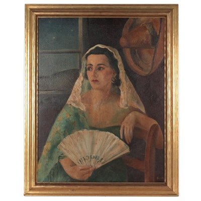 Oil Painting of Young Woman With Fan, Early 20th Century