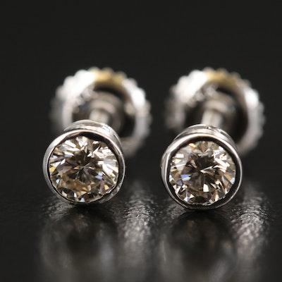 14K Bezel Set 0.68 CTW Diamond Stud Earrings