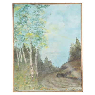 """Dolly Saxbe Oil Painting """"Michigan Landscape,"""" Circa 1970"""