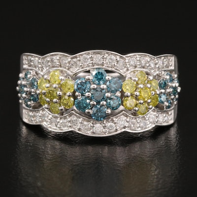 14K 1.00 CTW Diamond Band with Floral Openwork Design