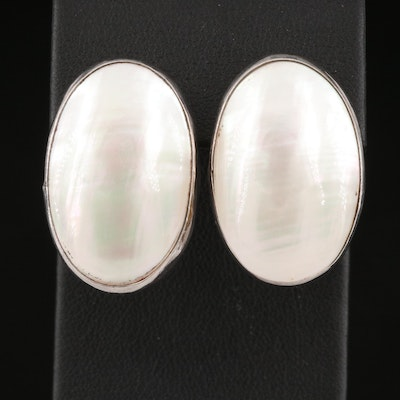 Gilo and Grace Nakai Navajo Diné Sterling Silver Mabé Pearl Earrings