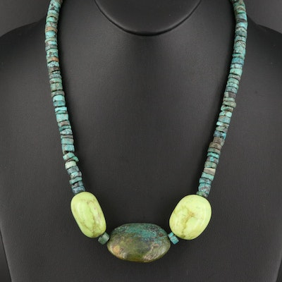 Turquoise and Magnesite Necklace with Sterling Clasp