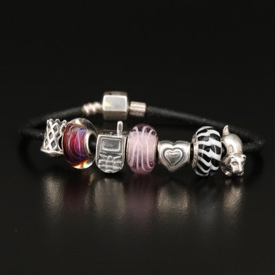 Chamilia Charm Bracelet with Glass and Sterling Charms