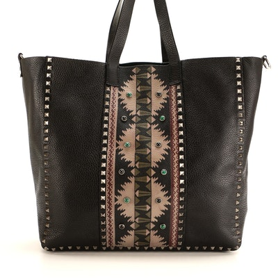Valentino Rolling Rockstud Large Tote in Tribal Embellished Pebbled Leather