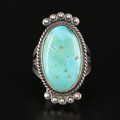 Southwestern Style Sterling Silver Turquoise Oval Ring