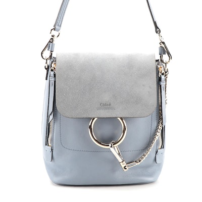 Chloé Light Blue Leather and Suede Backpack Purse