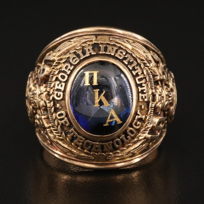 """Vintage 10K Sapphire """"Georgia Institute of Technology"""" Class Ring"""