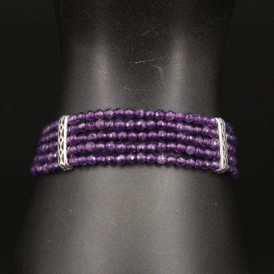 Sterling Silver Five Strand Amethyst Bracelet