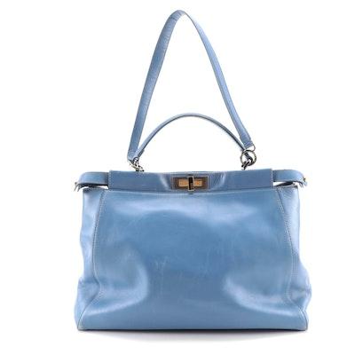 Fendi Peekaboo Blue Leather Two-Way Bag
