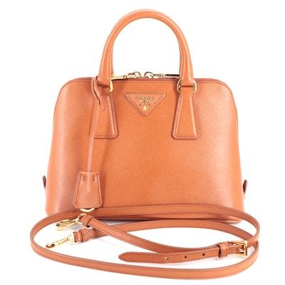 Prada Small Promenade Two-Way Bag in Orange Saffiano Leather