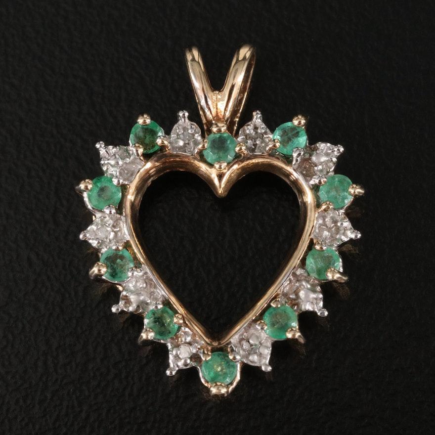 10K Emerald and Diamond Heart Pendant