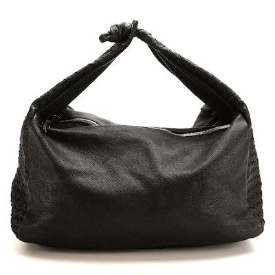 Bottega Veneta Black Grained Intrecciato Leather Hobo Bag
