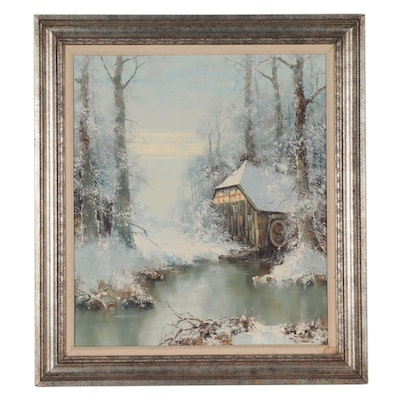 Willi Bauer Landscape Oil Painting of Snow-Covered Cabin, Late 20th Century
