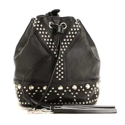 Yves Saint Laurent Small Y Studded Bucket Bag in Black Calfskin Leather