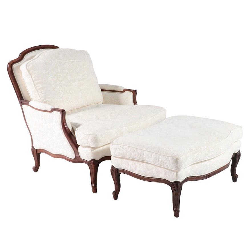 The Bombay Company Louis XV Style Upholstered Armchair and Ottoman