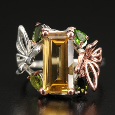 Sterling Citrine, Tourmaline and Diopside Butterfly Ring
