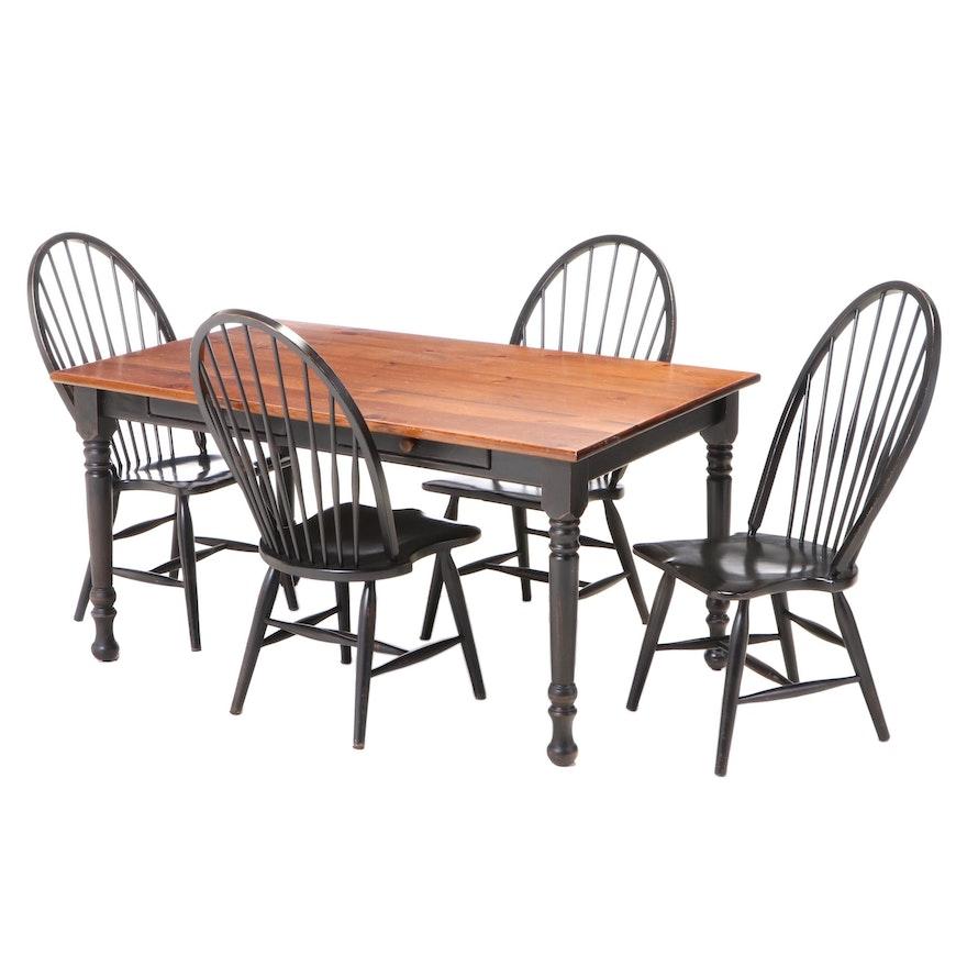 Five-Piece American Primitive Style Ebonized Dining Set