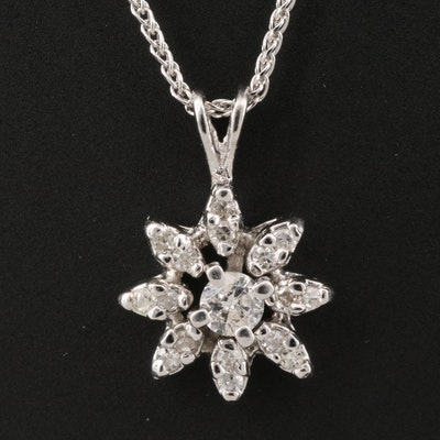 14K Diamond Flower Necklace