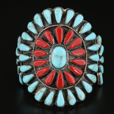 Large Southwestern Style Cuff Set with Faux Turquoise and Faux Coral
