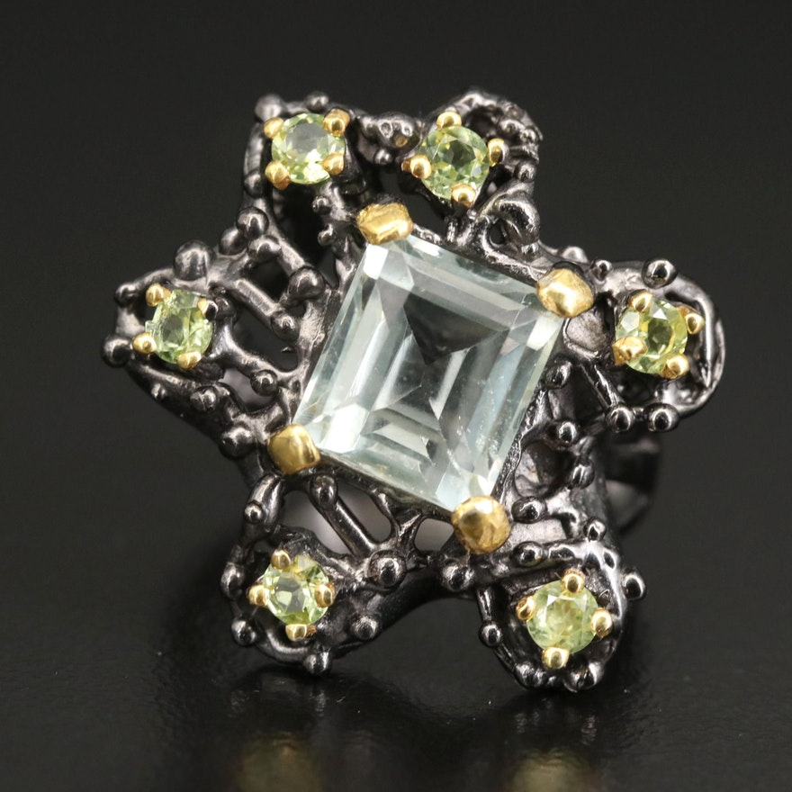 Sterling Prasiolite and Peridot Ring