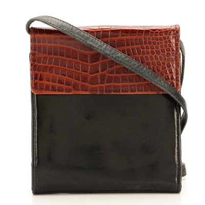 Tusk Crossbody Wallet in Croc-Embossed and Patent Leather