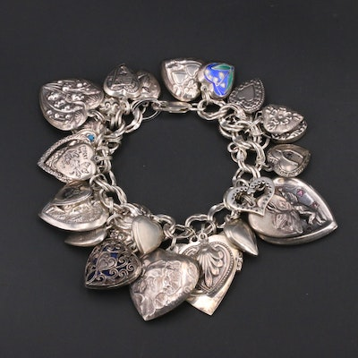 Sterling Silver Bracelet with Antique and Vintage Heart Charms