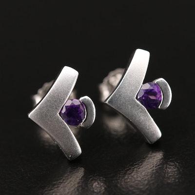 Sterling Amethyst Chevron Stud Earrings