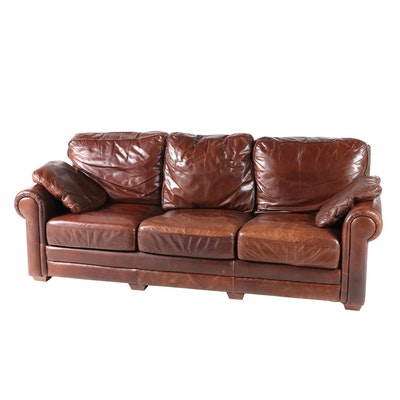 Spectra Home Brown Leather Overstuffed Three-Seat Sofa