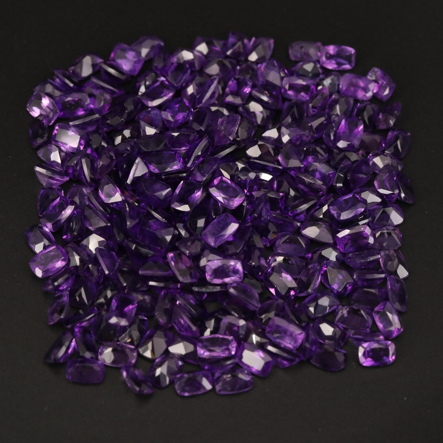 Loose 104.12 CTW Cushion Faceted Amethysts