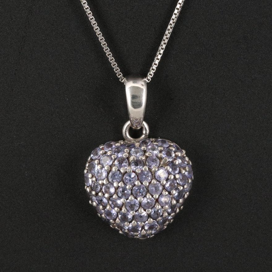Sterling Tanzanite Heart Pendant Necklace