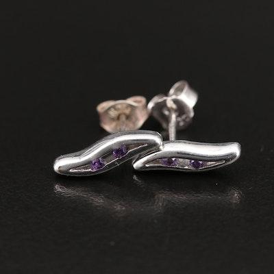 Sterling Amethyst Stud Earrings