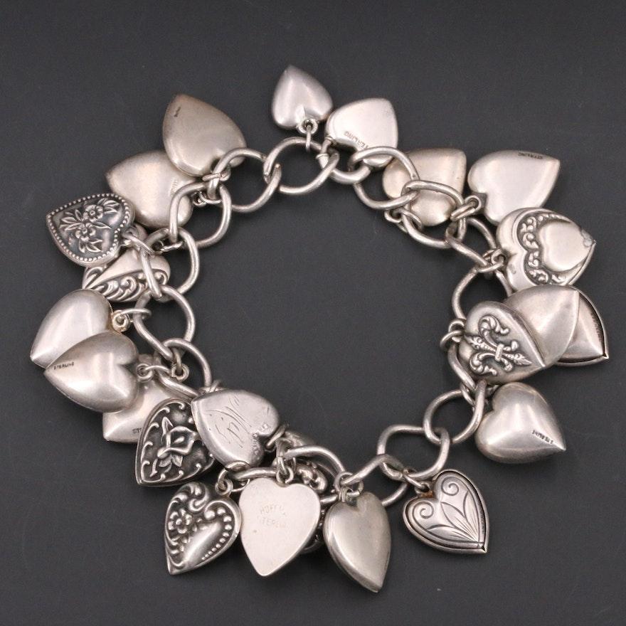 1940s Sterling Silver Heart Charm Bracelet