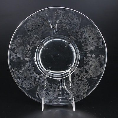 Glass Plate with Silver Overlay, Mid-20th Century