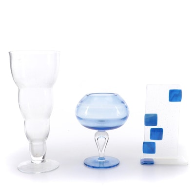 IVV Italy Clear Glass Vase with Other Art Glass Décor