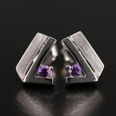 Sterling Amethyst Stud Earrings with Brushed Detail
