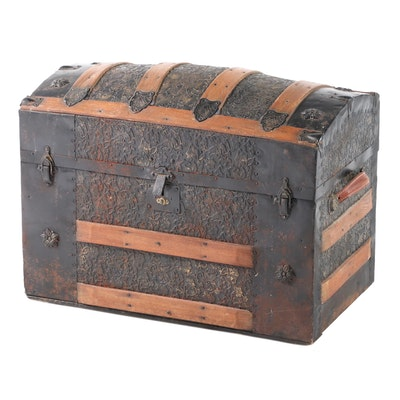 Late Victorian Metal-Clad and Slatted Oak Dome-Top Steamer Trunk