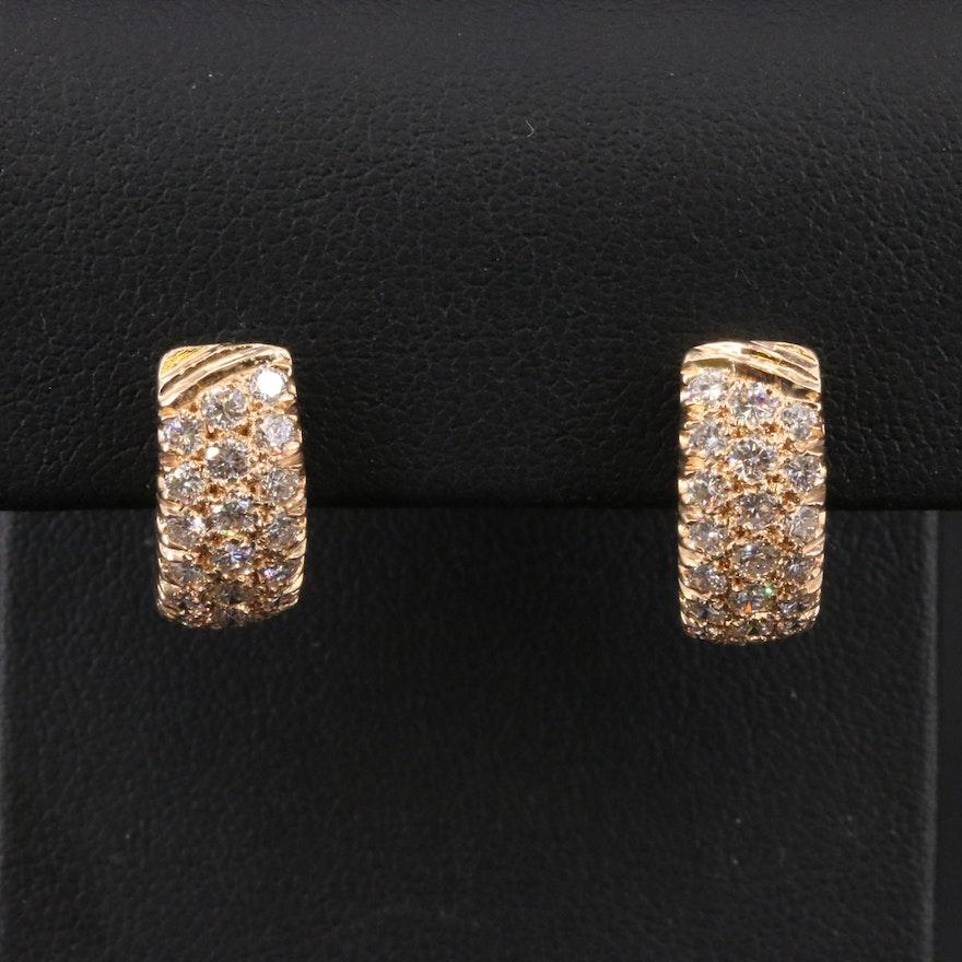 14K 1.46 CTW Diamond Half Hoop Earrings