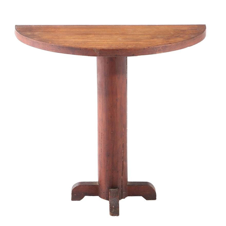 American Primitive Bird's-Eye Maple, Oak, and Pine Demilune Side Table