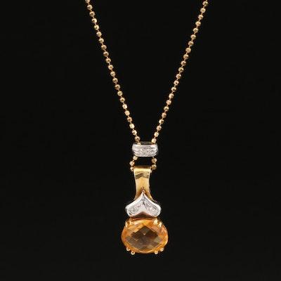 18K Citrine and Diamond Pendant Necklace