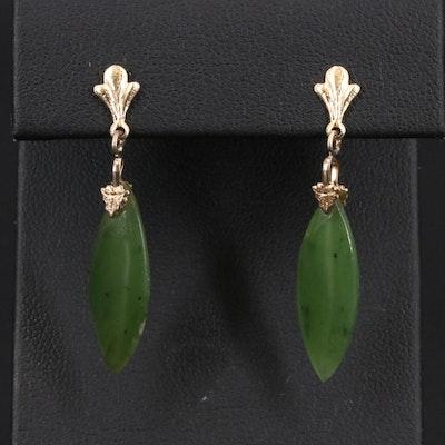 14K Nephrite Navette Drop Earrings