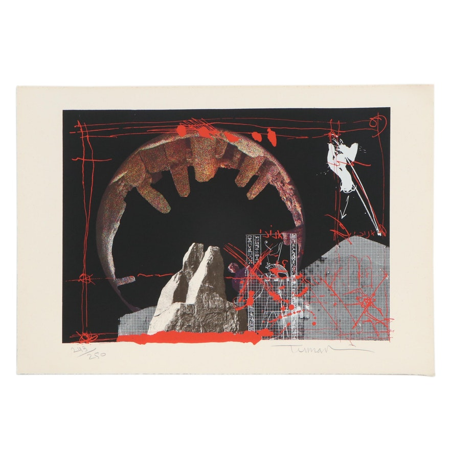Igael Tumarkin Abstract Mixed Media Print, Late 20th Century