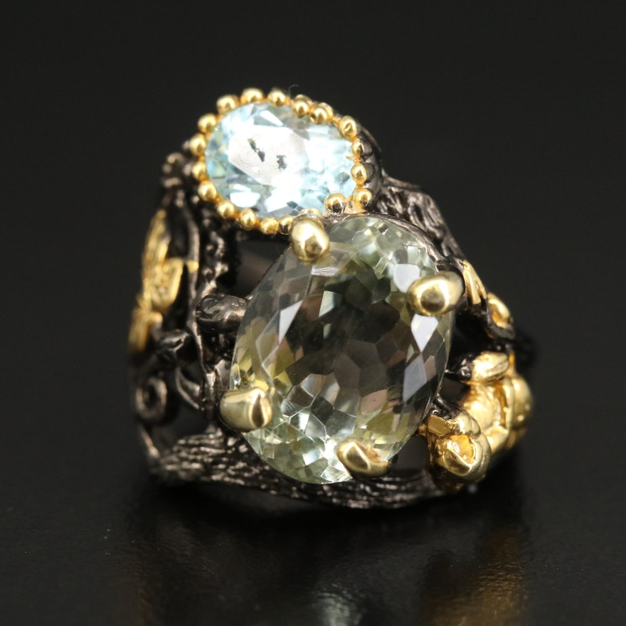 Sterling Silver Prasiolite and Topaz Ring with Nature Design