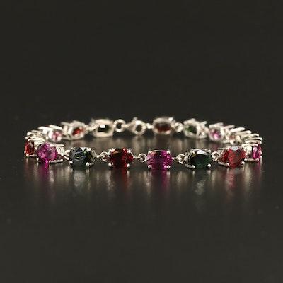 Sterling Tourmaline and Garnet Line Bracelet