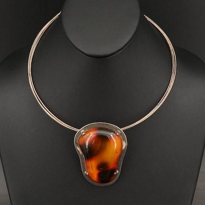 Mariusz Gliwinski Sterling Silver Amber Necklace