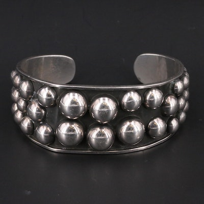 Vintage Mexican Sterling Silver Cuff with Domed Dot Pattern