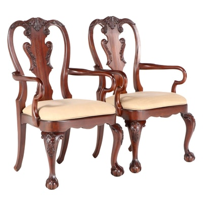 Pair of Ethan Allen George II Style Mahogany Armchairs