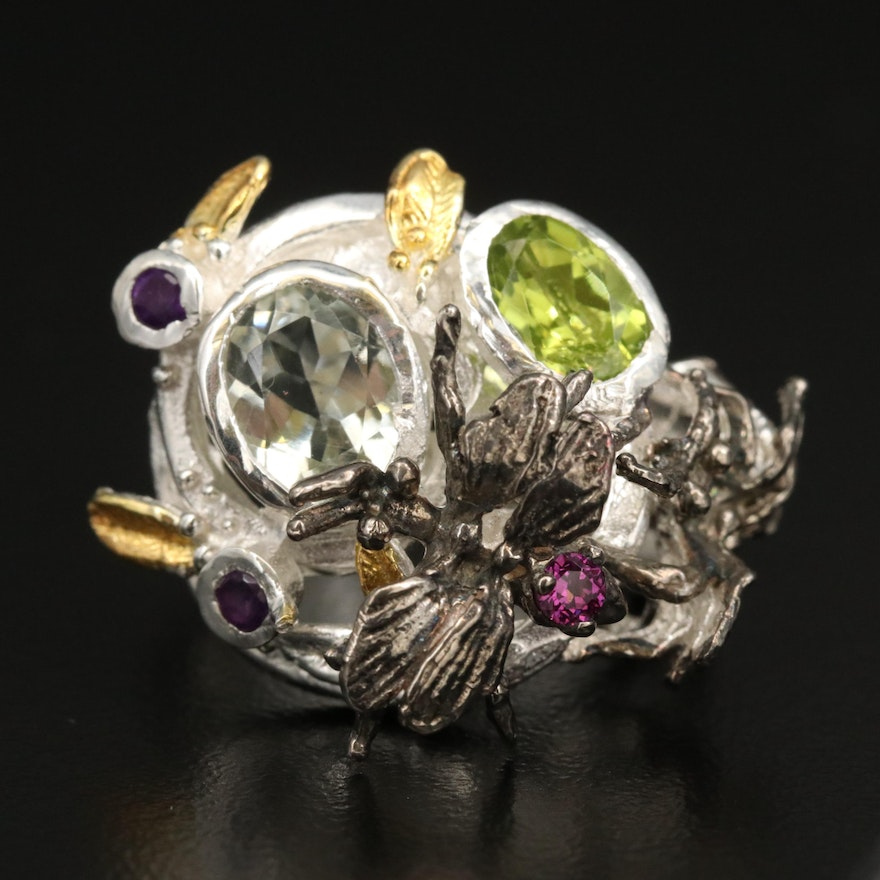 Sterling Silver Peridot, Prasiolite and Amethyst Insect Ring